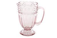 """Стеклянный кувшин для воды """"Гипюр"""". 1.35 л, розово-лиловый"""