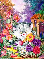 """Набор для вышивки лентами """"Котенок-садовод"""" НЛ-4011"""