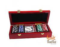 Набор для покера 100 фишек в деревянном кейсе