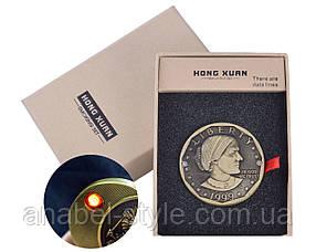 USB зажигалка монета №4362-2 Код 117892-2