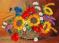 """Набор для вышивки лентами """"Корзина летних цветов"""" НЛ-3011"""