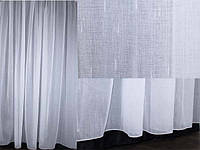 Льняная тюль, белого цвета.  Код 061т (5м. ширина-2,7м. высота)