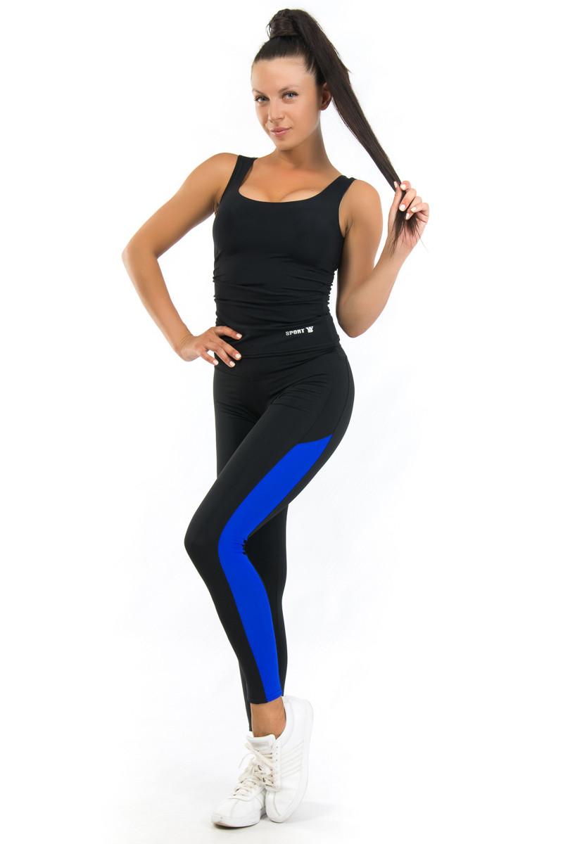 Чёрно матовые лосины с вставкой цвета электрик в комплекте с спортивной  майкой