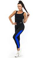 Чёрно матовые лосины с вставкой цвета электрик в комплекте с спортивной  майкой, фото 1