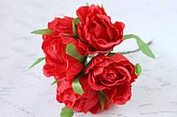 Декоративные цветы розы диаметр 4 см красного цвета, фото 1