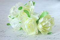 Декоративные цветы розы диаметр 4 см кремового цвета