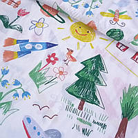 Хлопок Премиум с детскими рисунками Радуга, ширина 150 см, фото 1
