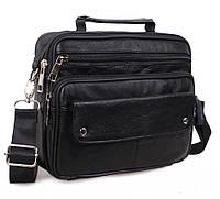 Кожаная мужская сумка BLACK206 черная барсетка через плечо натуральная кожа  23х19х7см e5c5b56db88dd