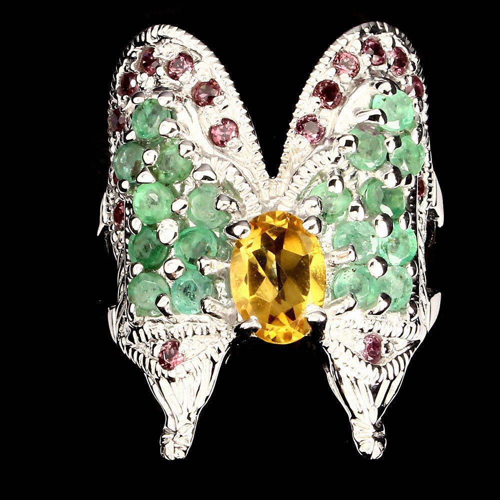Кольцо с натуральным Изумрудами, Гранатами родолитами и Цитрином