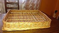 Лоток плетеный из лозы с плетеным дном, фото 1