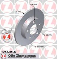 Тормозной диск задний Zimmermann для Octavia TOUR 1.8T, 2.0, 1.9 (ASV, AHF)