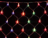Новогодняя LED гирлянда сетка 1,5х1,4м, для декорирования витрин, окон, потолков синий, белый.