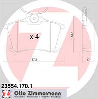 Тормозные колодки задние Zimmermann для Octavia TOUR 1.8T, 2.0, 1.9 (ASV, AHF)