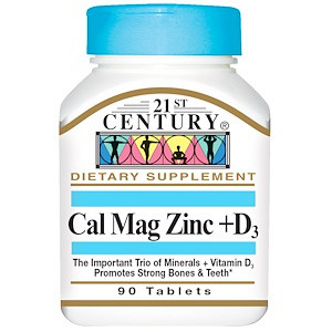 Кальций магний цинк + витамин Д3, 90 таблеток, 21st Century