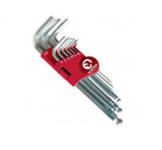 Набор Г-образных шестигранных  ключей с шарообразным наконечником 9 ед., 1.5-10 мм, Cr-V, 55 Intertool HT-0605