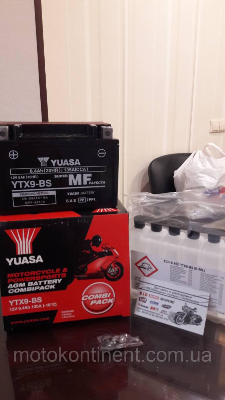 Аккумулятор для мотоцикла YUASA YTX9-BS сухозаряженный AGM 9Ah 135A 150x87x105