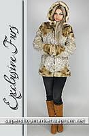 Женская шуба из искусственной норки, бежевый леопард №46