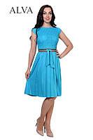 Модное бирюзовое летнее платье