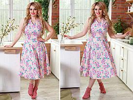Платье больших размеров 48+ с коротким рукавом, цветочный принт   арт 248/3-126