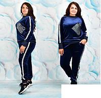 Женский спортивный костюм велюровый со стразами, с 52-58 размер, фото 1
