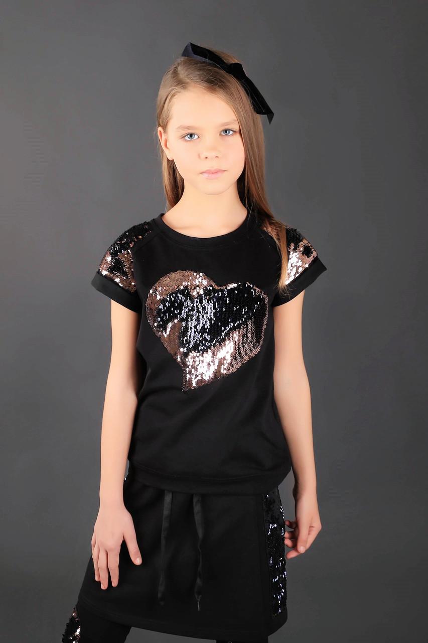 Школьная блузка с сердцем черная  тм МОНЕ р-ры 146