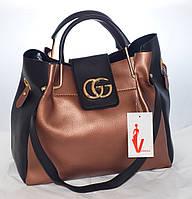 1e94ecd269a2 Женская сумка Gucci (Гуччи), коричневая с черным и с косметичкой