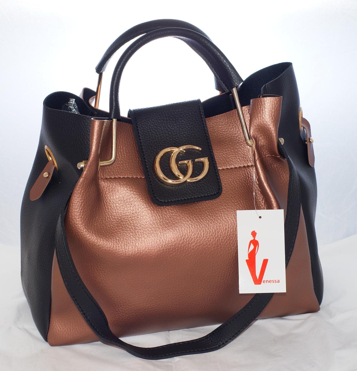 Женская сумка Gucci (Гуччи), коричневая с черным ис косметичкой