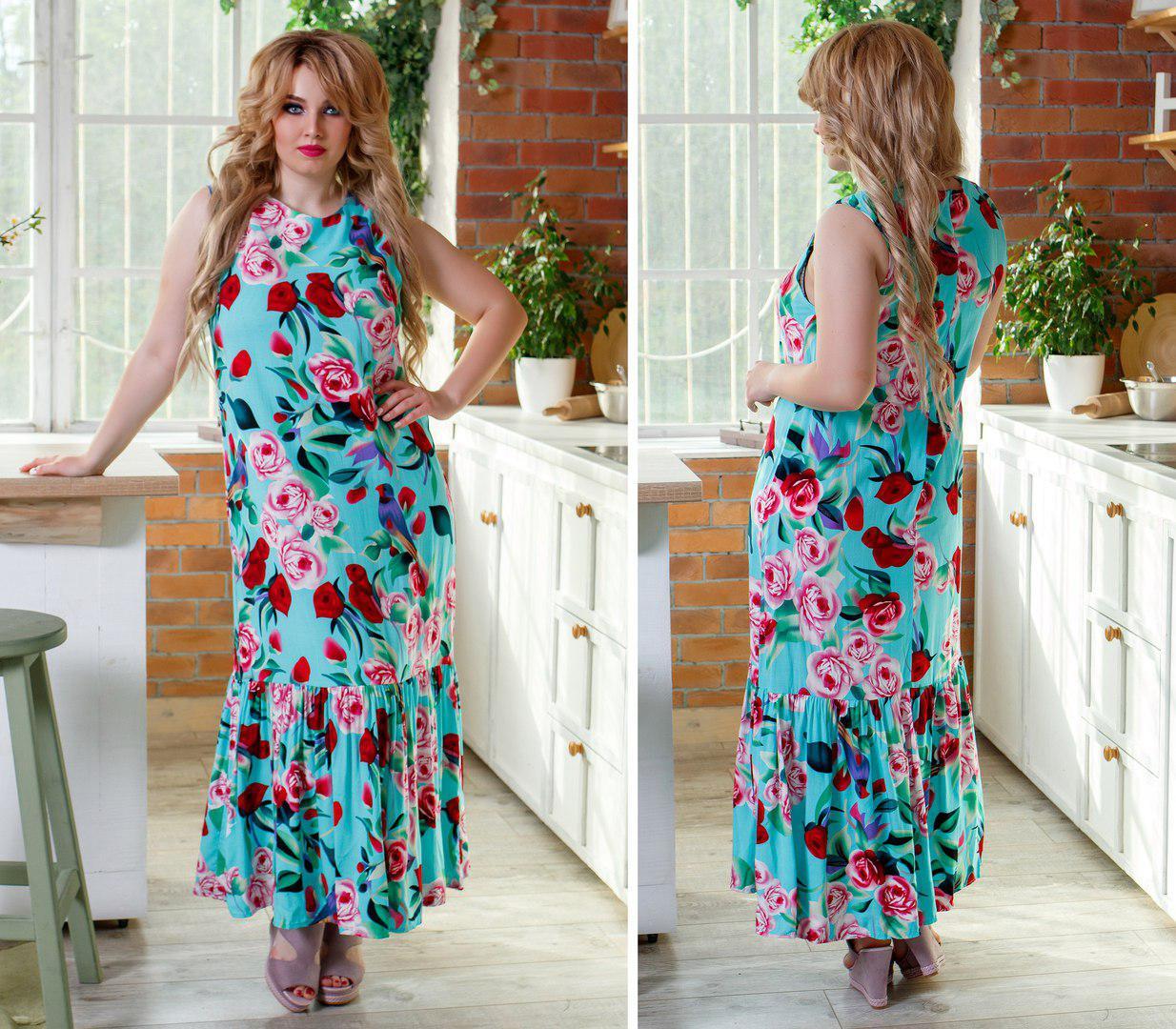 Платье больших размеров 48+ с коротким рукавом, яркий принт, юбка волан арт 250/3-126