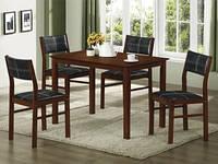 """Кухонный комплект """"Матео"""" из натурального дерева: стол и четыре стула."""