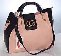 Женская сумка Gucci (Гуччи), розовая с черным ис косметичкой, фото 1