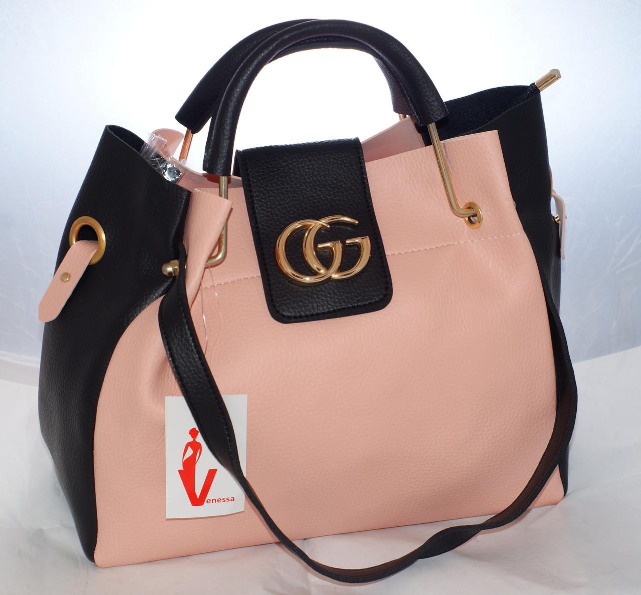 Женская сумка Gucci (Гуччи), розовая с черным ис косметичкой