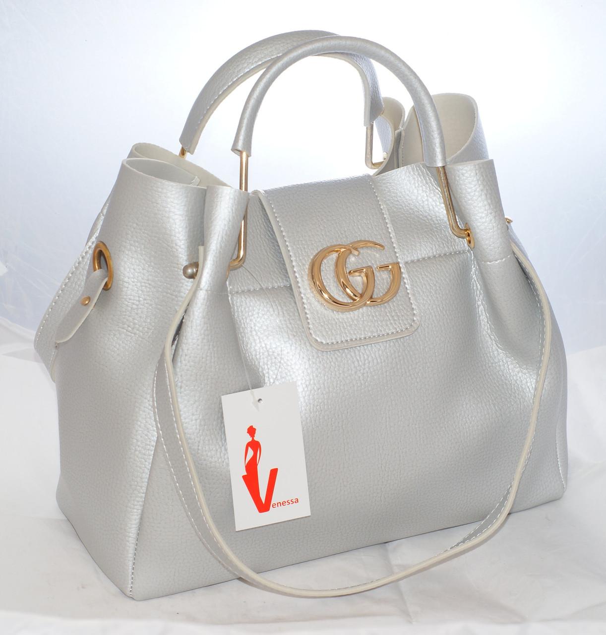 21d2b0b770a0 женская сумка Gucci гуччи серебристая с косметичкой продажа