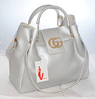 Женская сумка Gucci (Гуччи), серебристаяс косметичкой, фото 1