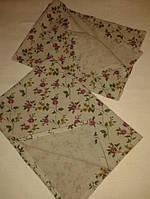 Полотенце льняное с розовыми цветам 50х70