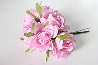 Декоративные цветы розы (эустомы) диаметр 5 см розового цвета, фото 1