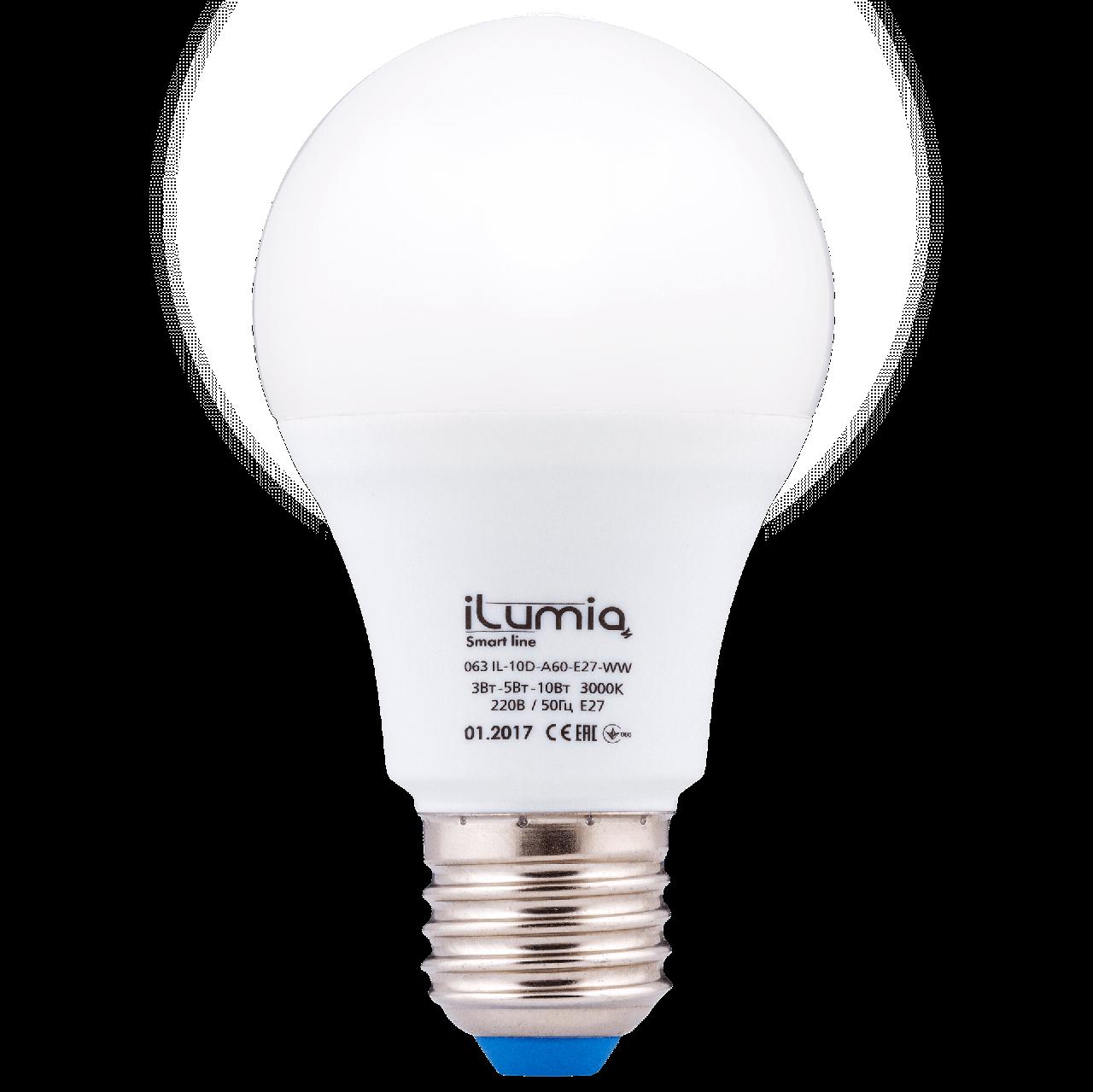 Светодиодная лампа Ilumia диммер 3-5-10Вт, цоколь Е27, 3000К (теплый белый), 1000Лм (063)