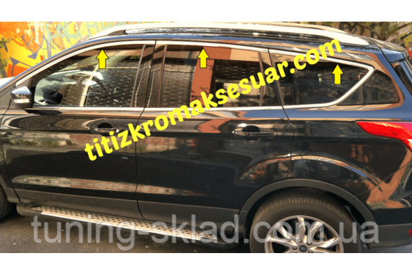 Хром  верхняя окантовка стекол Ford Kuga 2008-2013  (Форд Куга)