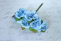 Цветы магнолии для скрапбукинга диаметр 4 см, 6 шт/уп, голубые, фото 1