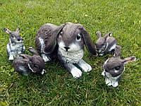 """Комплект садовых фигур """"Крольчиха веслоухая и 4 крольченка"""" H-25см, фото 1"""
