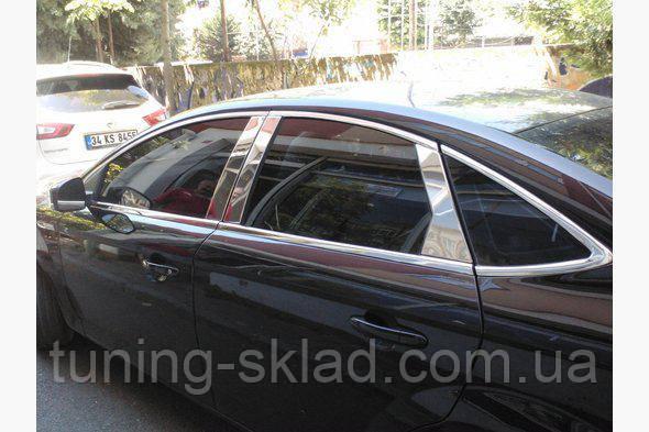 Хром  молдинг дверных стоек Ford Mondeo 2008-2013  (Форд Мондео)