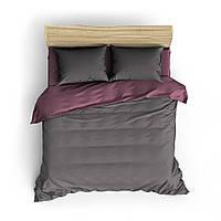 Однотонное розово-серое постельное белье MDreams Евро 200х220, фото 1