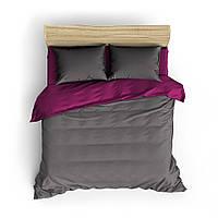 Однотонное малиново-серое постельное белье MDreams 2-спальный 200х220, фото 1