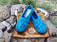Домашние шерстяные тапочки валяные из овечьей шерсти р.37 Подарок на новый год