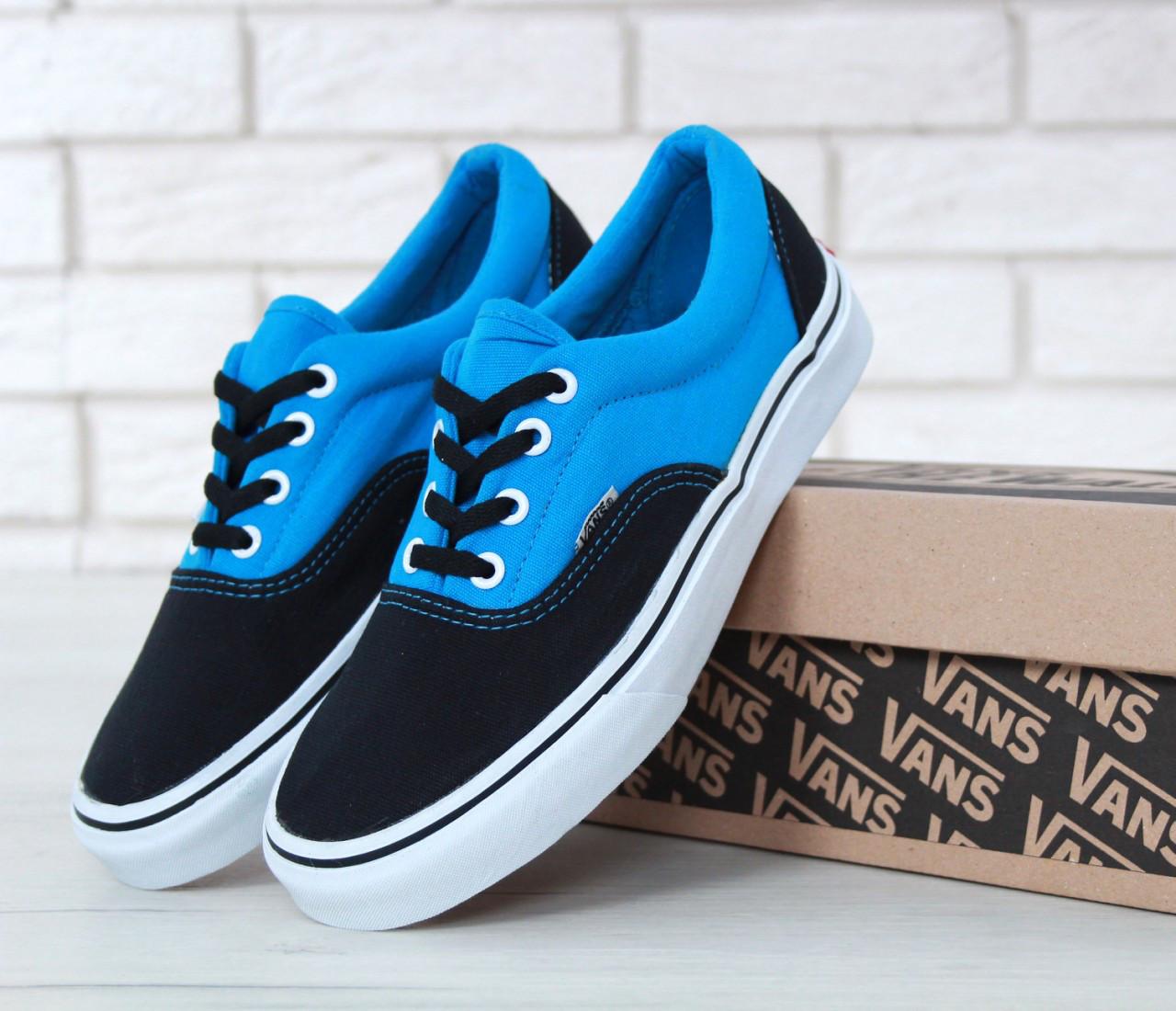 Кеды Vans Era черные с голубым (Кеды Ванс)