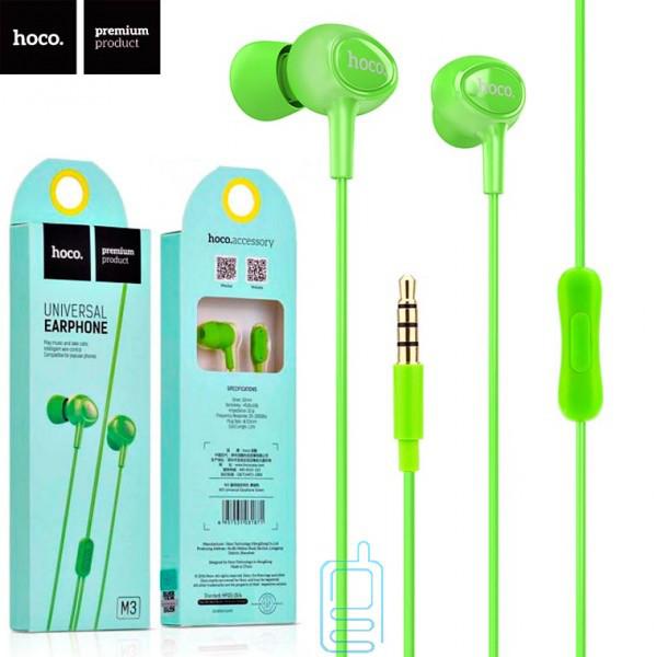 Наушники с микрофоном Hoco M3 зеленые