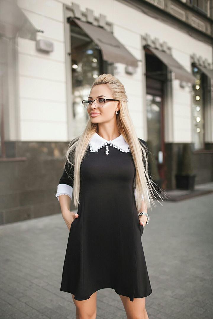 Платье приталенного кроя с оригинальным воротничком / 3 цвета  арт 6232-121