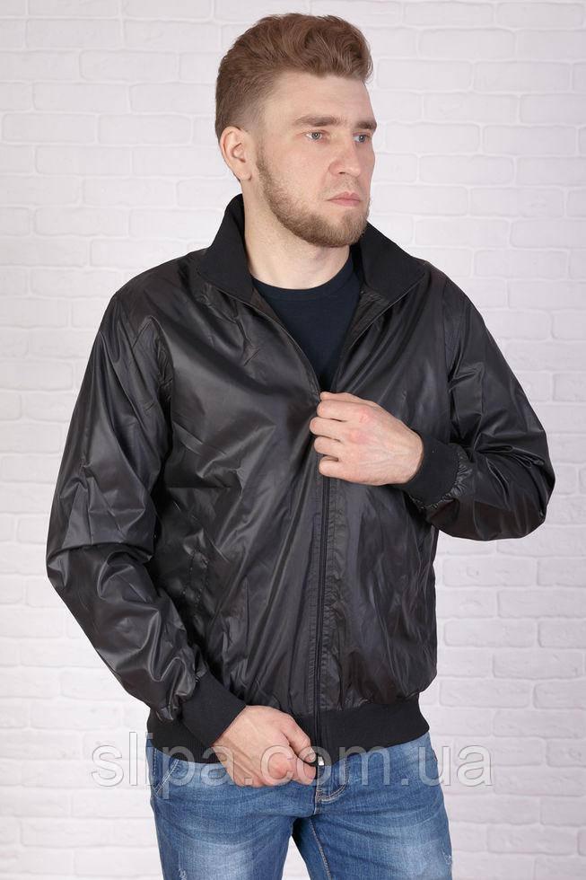 Чоловіча чорна куртка з плащової тканини, тканинна підкладка