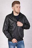 Чоловіча чорна куртка з плащової тканини, тканинна підкладка, фото 1