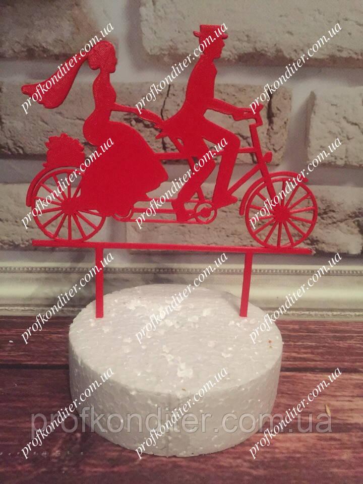 Пластиковый топер Свадебная пара на велосипеде №2