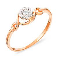 Код: 140630  Золотое кольцо.   Изящный ободок, с элиментом винтажного плетения и распущенный цветок со вставками фианита,  из красного золота 585 проб